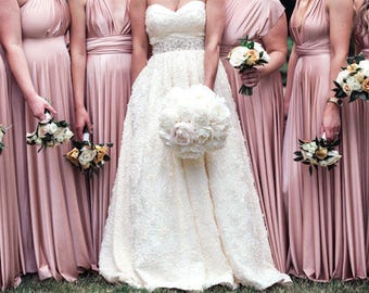 Bridesmaids dress in dusty pink color floor length dress with matching tube top