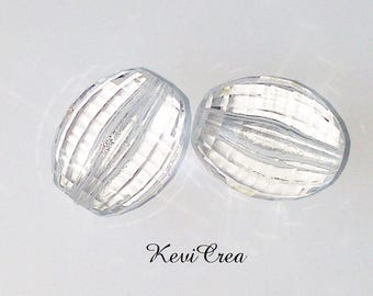 5 x 15mm faceted acrylic oval colorless beads