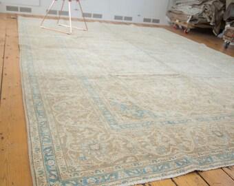 9.5x13 Vintage Distressed Kashan Carpet