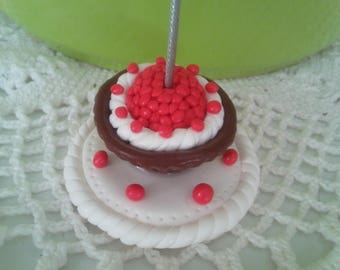Photo holder or sticky chocolate raspberry in polymer clay