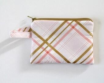 small zipper pouch, Minimalist pocket wallet, Change purse, cash wallet, mini zipper pouch, earbud case, Metallic gold plaid pink bag