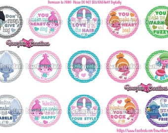 Troll Inspired, 1 Inch Circles, Valentine Day Images, Valentines Sayings, Bottle Cap Images, Troll Valentines, Bowzilla Creations, Instant