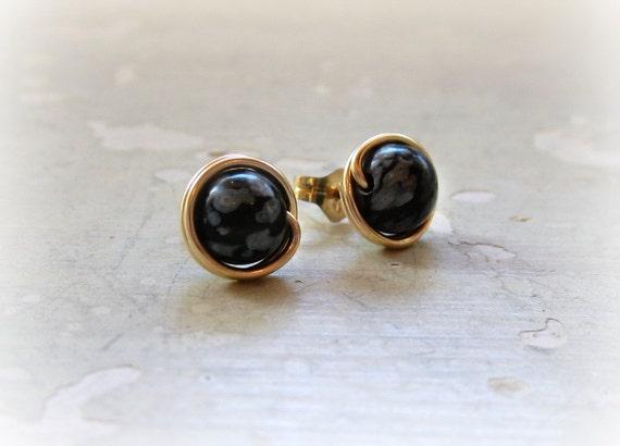 Schneeflocke Obsidian Ohrstecker schwarz Post-Ohrringe Gold