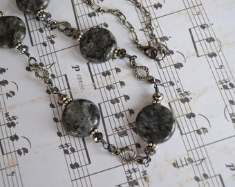 Labradorite and Swarovski Crystal Gunmetal Chain Necklace