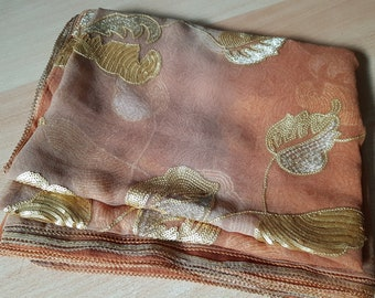 Vintage Rust and Gold Dupatta / Indian Stole