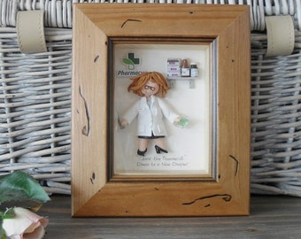 PERSONALISED PHARMACIST GIFT, Female Professor, Scientist Framed Polymer Clay Characters,  Retirement, Promotion, Birthdays M or F