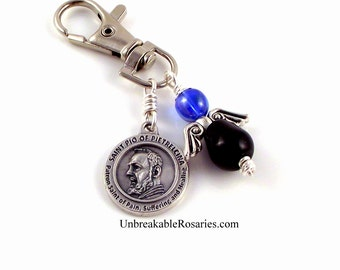 St Padre Pio Healing Saint Angel Charm  Black and Blue AB Czech Glass by Unbreakable Rosaries
