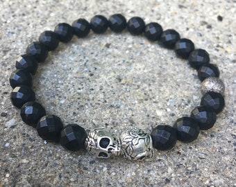 8mm mens skull bracelet religious beaded cross bracelet silver buddha black beads