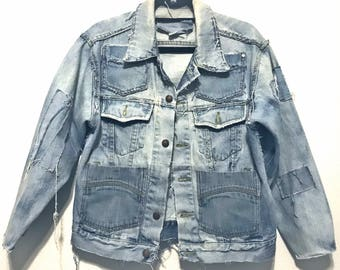 Stylish, Distressed Light blue denim Oversized Jacket (LARGE)