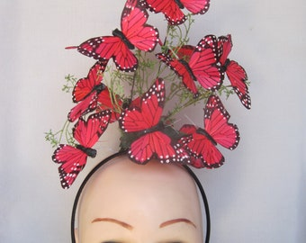 Rich Deep Passionate Pink Monarch Butterfly Headpiece