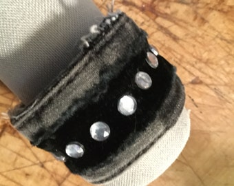 Recycled Denim & Raw Velvet Cuff