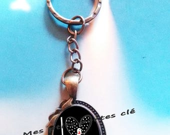 Key ring with cabochon glass 25 x 18 mm LOve