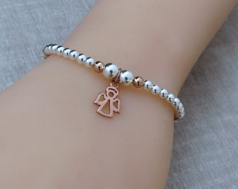 Angel Charm Bracelet, Silver Guardian Angel Jewelry, Mothers Gift, Stacking Bracelet