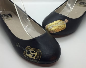 Hand Painted Elvis Presley Inspired Shoes ~ Black Size 6 Strappy Ballet Flats
