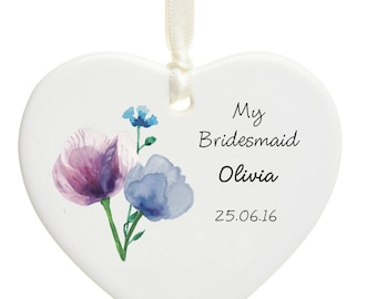 Personalised Ceramic Floral Bridesmaid Hearts- Thank You Gift - Christmas Tree Decoration