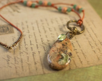 Large Jasper Pendant with Hardware and Leather Necklace