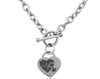 Stainless Steel Workout Lifeline Heart Heart Charm, Necklace / Silver / Gold / Rose Gold