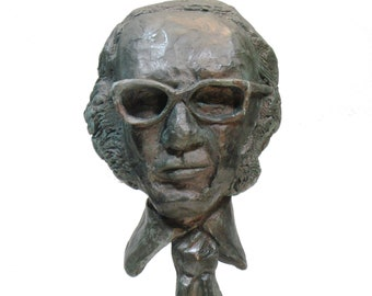 Asimov, Isaac Asimov bust on 1950's retro modernist wood base