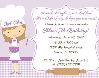 Kid's Cooking Invitation - Girl  (Digital File) / Baking Birthday Party Invitation - Chef Birthday Invitation - Baking Party Invitation