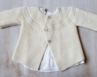29 / Princess Charlotte Jacket / Knitting Pattern Instructions in French / PDF Instant Download / 3 Sizes : Newborn / 3 months / 6 months