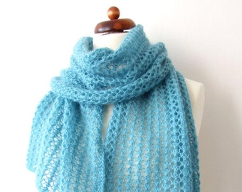 knit mint scarf, lace scarf, handknit winter scarf, for her, for a friend