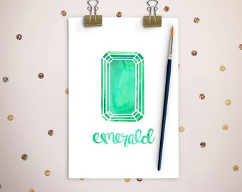 Emerald Watercolor Custom Designed Art Print,Digital Download,May Birthstone,Home Decor,Wall Art,Precious Stones Watercolor,Nursery Decor