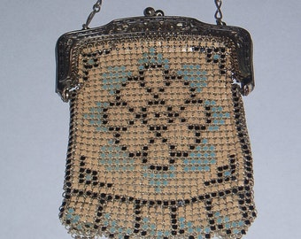 1920s Art Deco Enamel Mesh Purse by Whiting and Davis