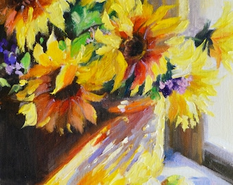 Original Painting of SONNEBLOMME, glass vase, roses, beautiful still life, sunflowers, sundrenched scene, yellow and purple