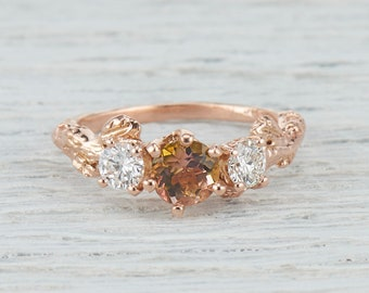 Pink and Green Tourmaline Nature Inspired Engagement Ring - Tourmaline and Diamond Twig Ring in Yellow Gold, Rose Gold, White Gold