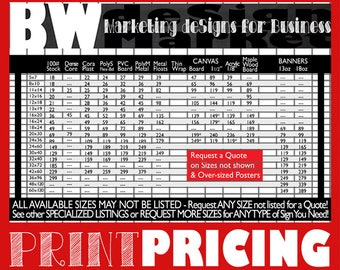 PRINT PRICING for BWD Business DeSigns- Custom Company Artwork- Small Business Signage- Vendor Show Prints- Premium Signs- Workplace Signs
