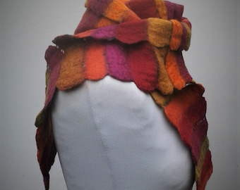 Red striped felt scarf on scrim