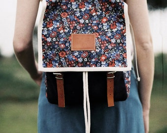 Corolla Print Backpack, Blue Canvas and Leather Backpack, Red and White Flowers, Women's Backpack