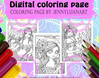 Anime Doodle Mermaid and friends catfish seahorse dragon Coloring Page PDF download by JennyLuanArt