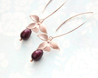 Rose Gold Orchid Earrings Flower Dangle Earrings Long Wire Berry Burgundy Maroon Pearl Bridemaids Gift For Her Gift For Wife Wedding Jewelry