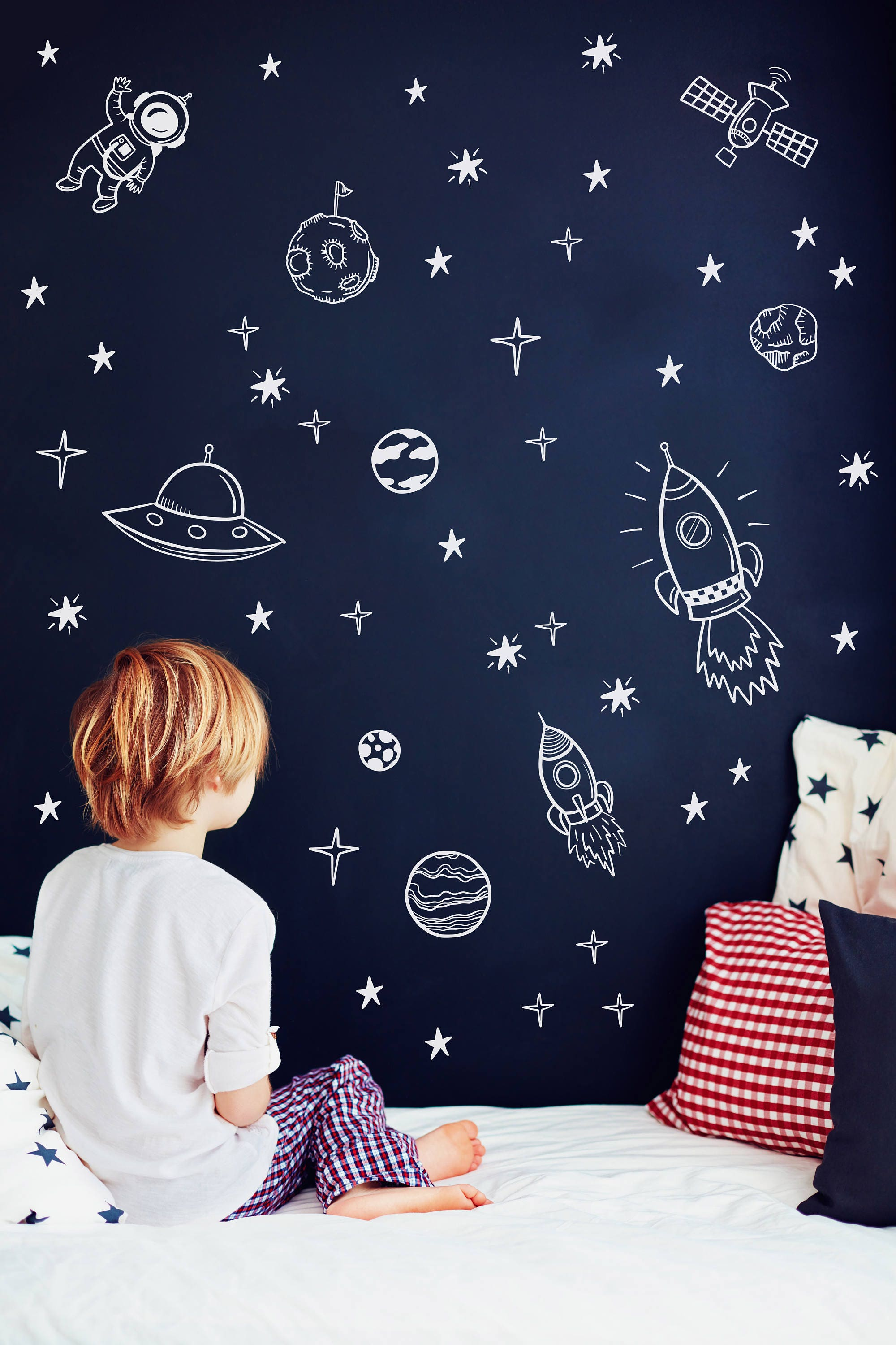 Space wall decals outer space nursery decor rocket ship for Wall decor outer space