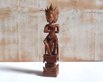 Vintage Statuette Balinese wooden - handmade Sculpture - Indonesia Asia
