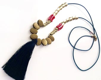 Boho necklace/ Tassel necklace/ Leather necklace/ Bronze necklace/ Long necklace/ Ceramic bead  necklace/ Mix metal necklace/ Gift for her