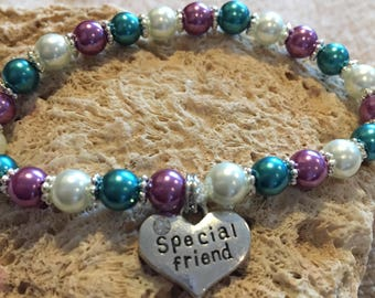 Special Friend Bracelet, Multi Color Bracelet, Glass Pearls, Silver Special Friend  Charm