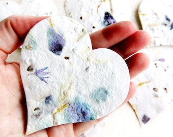 100+ LARGE Plantable Flower Petal Seed Paper Hearts - Wedding Favors Memorials Adoptions - Creamy white with Rose petals and more