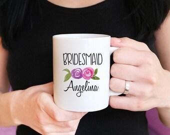 Bridesmaid Proposal Mug - Will You be my Bridesmaid - Watercolor Floral Mug - Maid of Honor Proposal - Bridesmaid Mug Gift Watercolor Mug