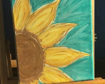 acrylic sunflower painting on canvas