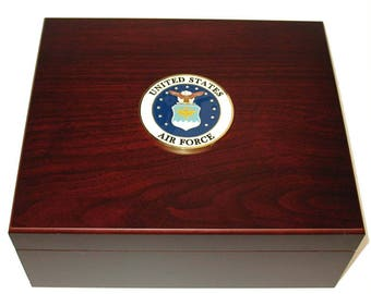Custom Logo US Air Force USAF 50 Cigar Humidor Gift Display