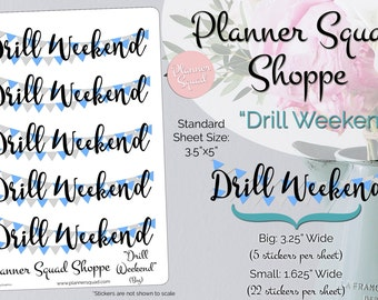 Drill Weekend Double Banner Blue and Silver Banner Stickers - 1 Sheet (Choose from 2 different sizes)