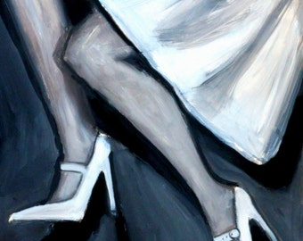 Mary Jane- Legs and Shoes Black and White Oil on Paper