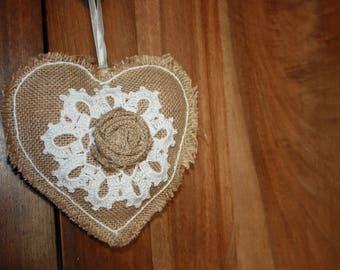 Heart hanging burlap and crochet