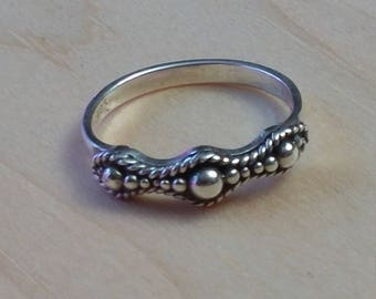 Delicate oxidized silver ring, Granulation, Fine silver ring, Every day ring , Exclusive design silver ring, Ageless ring, Handmade.