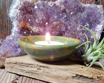 Gemstone Green Ceramic Trinket Dish, Ceramic Tea Light Holder, Small Ceramic Bowl, Air Plant Holder
