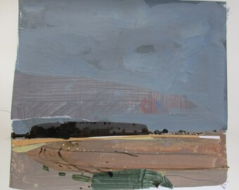 Southbound, November 5, Original Autumn Landscape Collage Painting on Paper, Stooshinoff