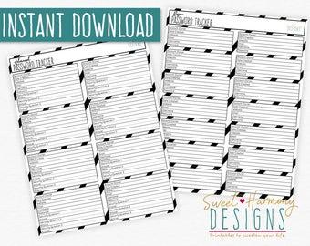 Password Organizer Printable Tracker Keeper Log List DIY Set of 2 Black White
