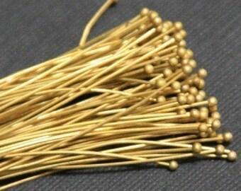 500 Raw brass Ball end head pins - 24 gauge - 2 inch